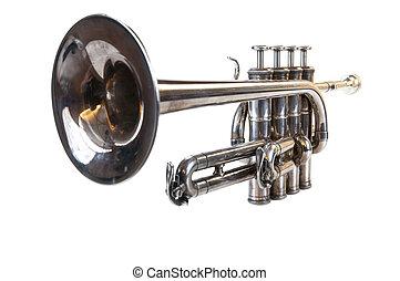aislado, clásico, plata, Música, trompeta,...
