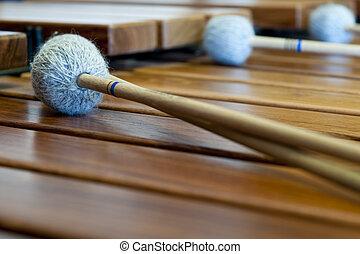 madeira, xilofone, ou, sticcado, varas, aquilo