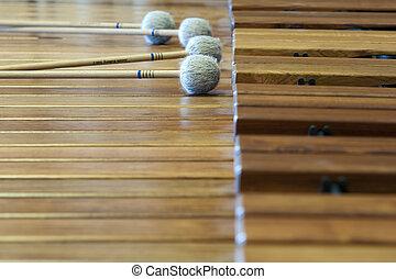 música, madeira, xylophon, mentindo, varas, aquilo