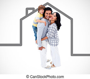 Happy family standing with a grey house illustration on a...