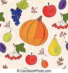 Vegetables and fruits autumn seamless pattern
