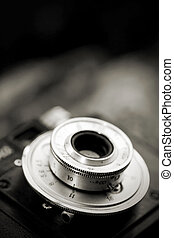 Closeup of old camera lens - Closeup of old retro film...