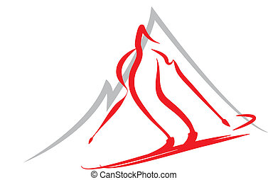 Symbol of skiing, winter sports - Vector symbol of skiing,...