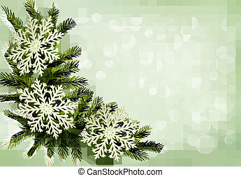 Christmas green background with christmas tree branches and...