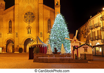 Christmas tree in front of cathedral. Alba, Italy. - Big...