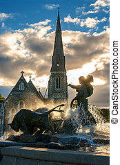 Gefion fountain Copenhagen, Denmark - Gefion fountain and St...