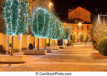Illuminated trees. Alba, Italy. - Row of trees illuminated...