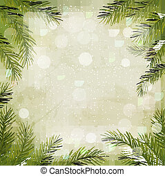 Christmas retro background with christmas tree branches and...