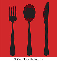 Knife, fork and spoon