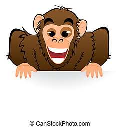 Monkey behind white board - Illustration of cute cartoon...