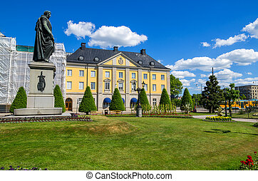 Statue of Carl XIV. Norrkoping, Sweden - Bronze statue of...