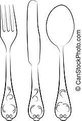 Knife, fork and spoon - Silhouettes of knife, fork, spoon