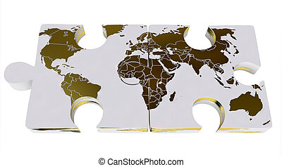 World Map On 3D Jigsaw Puzzles