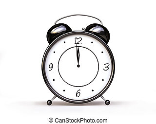 Alarm Clock in Black and White - 3D Alarm Clock in Black and...