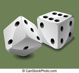Vector dices - Two white dices on green background