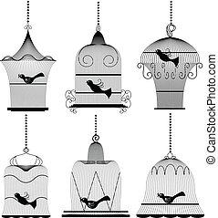Vintage bird cage set - Vintage bird cage silhouette set...