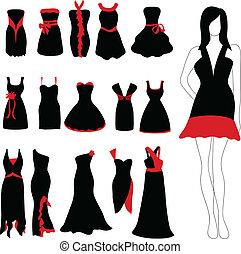 Woman dress set - Elegant woman dress set with woman...