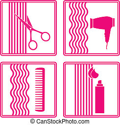 set of hairstyling icon - set of hairstyling tools icon on...