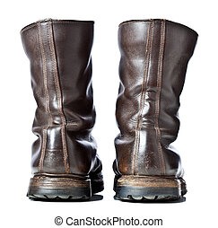 combat boots - isolated used combat leather boots