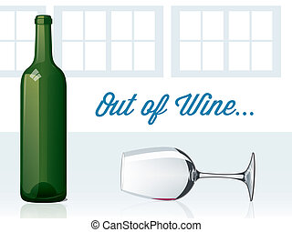 Out of Wine - Spilled wine glass with green glass bottle