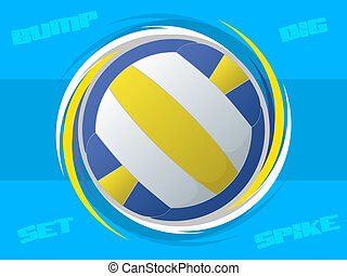 Volleyball Icon - Spinning volleyball illustration with blue...