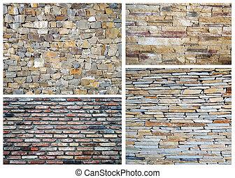 parete,  collage, pietra