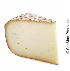 sheep cheese in front of white background