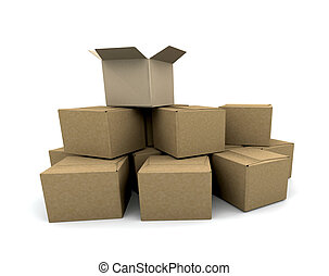 Stack of boxes - 3D render of a stack of boxes