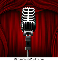 old microphone and red curtains