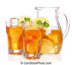 Fresh and cold ice tea with lemon and mint - Fresh and cold...