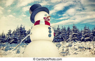 snow man in old winter photo