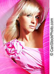 Barbie doll - Beautiful blonde in pink with a flower Barbie...