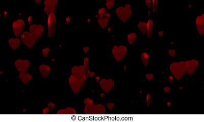 Hearts - Shiny 3D hearts are rising against a black...