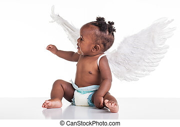 Occupied - A small African baby with her angel wings on the...