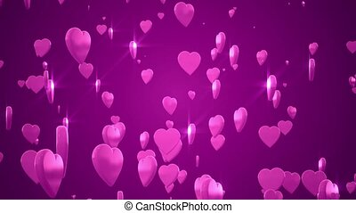 Hearts - Shiny 3D hearts are rising against a pink...
