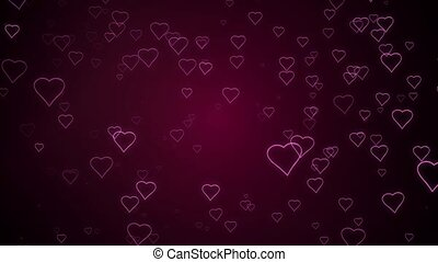 Hearts are falling against a dark pink background