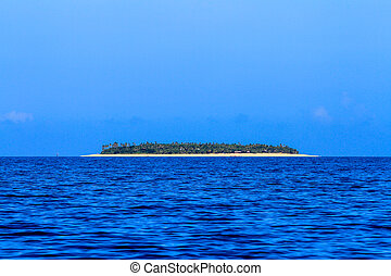 Beautiful Fiji atoll island with white beach in the middle...