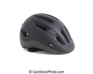 Black helmet on white. This helmet is used to practise...