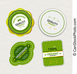 Set of organic food badges and labels - Collection of green...
