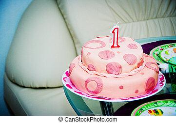 蛋糕, 生日, 鮮艷