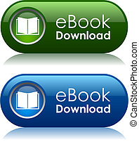 Ebook download icons, vector illustration