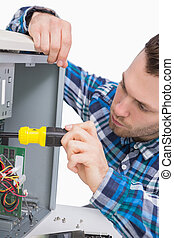 Close-up of computer engineer working on cpu