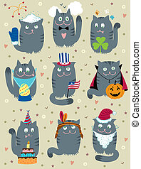 Cats Celebrating Holidays - Vector cute u0441ats celebrating...