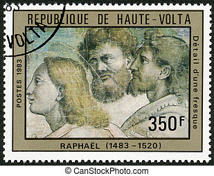 UPPER VOLTA - 1983: shows Fresco Detail, by Raphael - UPPER...