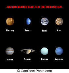 The official eight planets of our solar system