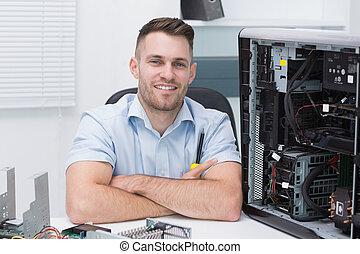 sorridente, hardware, professionale, seduta, aperto, CPU