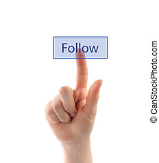 Hand pressing follow button on white background