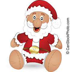 Cartoon Santa Stuffed Toy Vector - Creative Abstract...