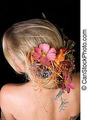 cabelo, flores, dela