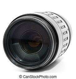 Tele zoom lens isolated on white